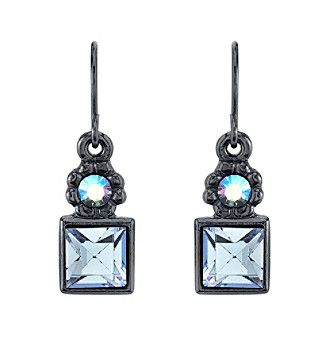 1928® Jewelry Jet Black Sapphire Blue Color and Blue AB Drop Earrings