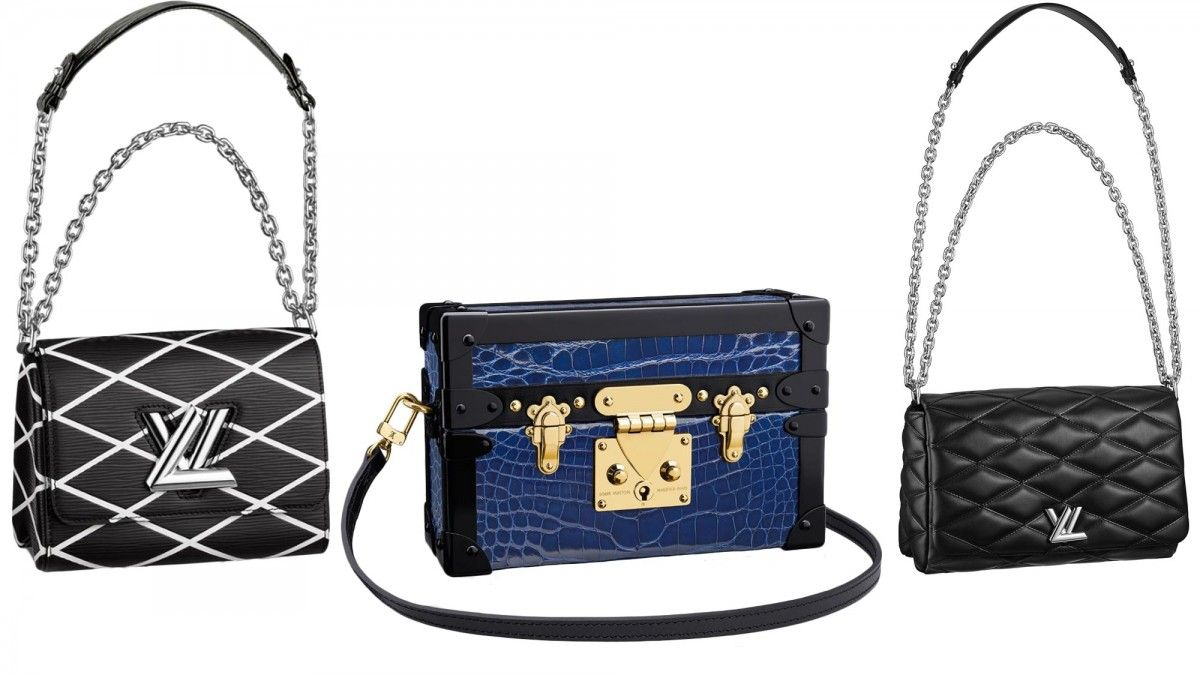 Louis Vuitton Petite Malle Bag, $34,000; Louis Vuitton GO-14 PM Bag, $4,600; Louis Vuitton Twist PM, $3,550