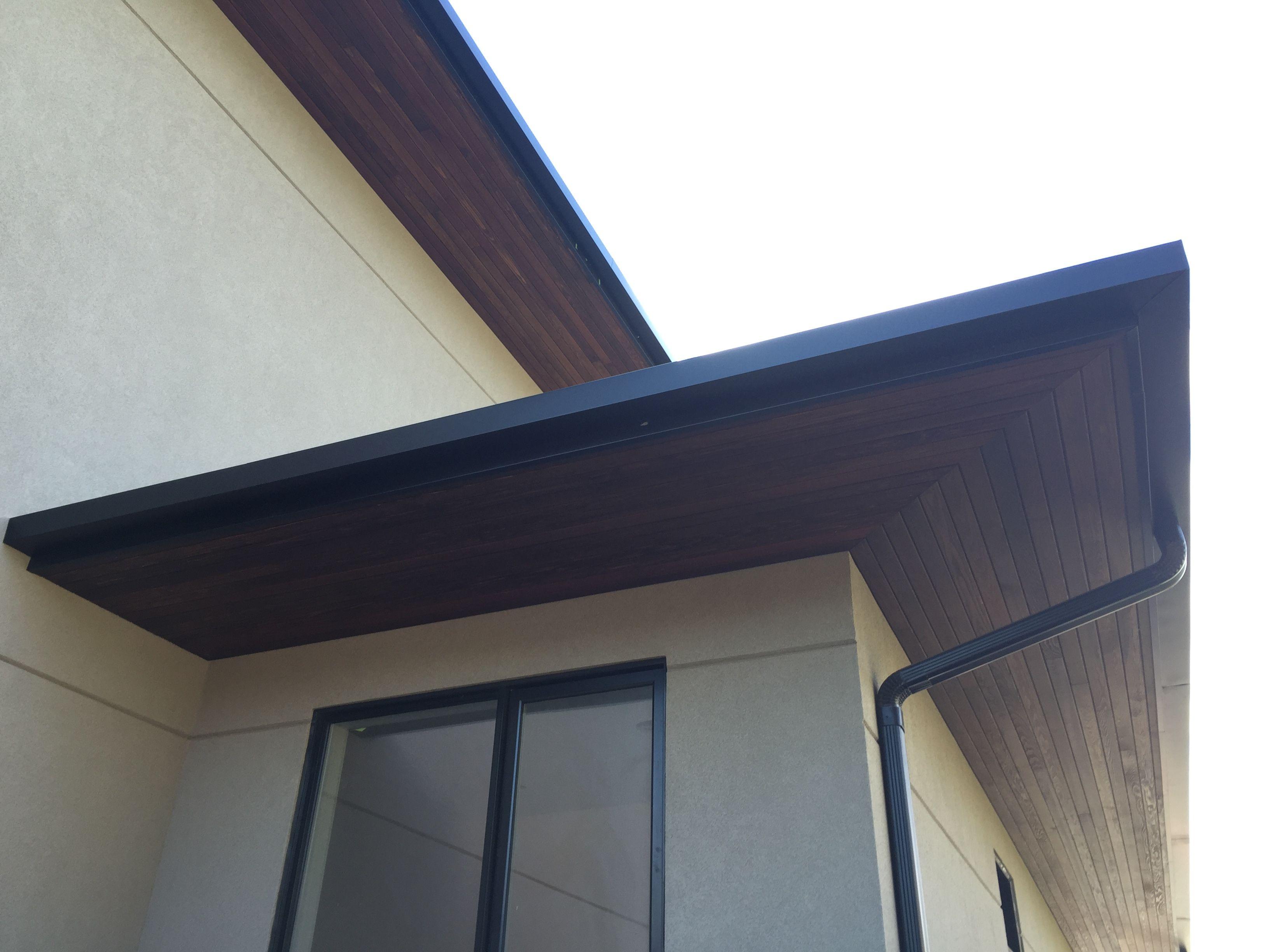 Huge Cedar Overhangs And Square Shape Gutters Gutter