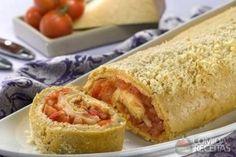 Receita de Rocambole de queijo e tomate em receitas de salgados, veja essa e outras receitas aqui!