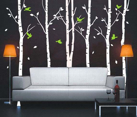 Autumn Birch Tree Forest And Flying Birds Wall Sticker Tree Wall - Vinyl wall decals birch tree