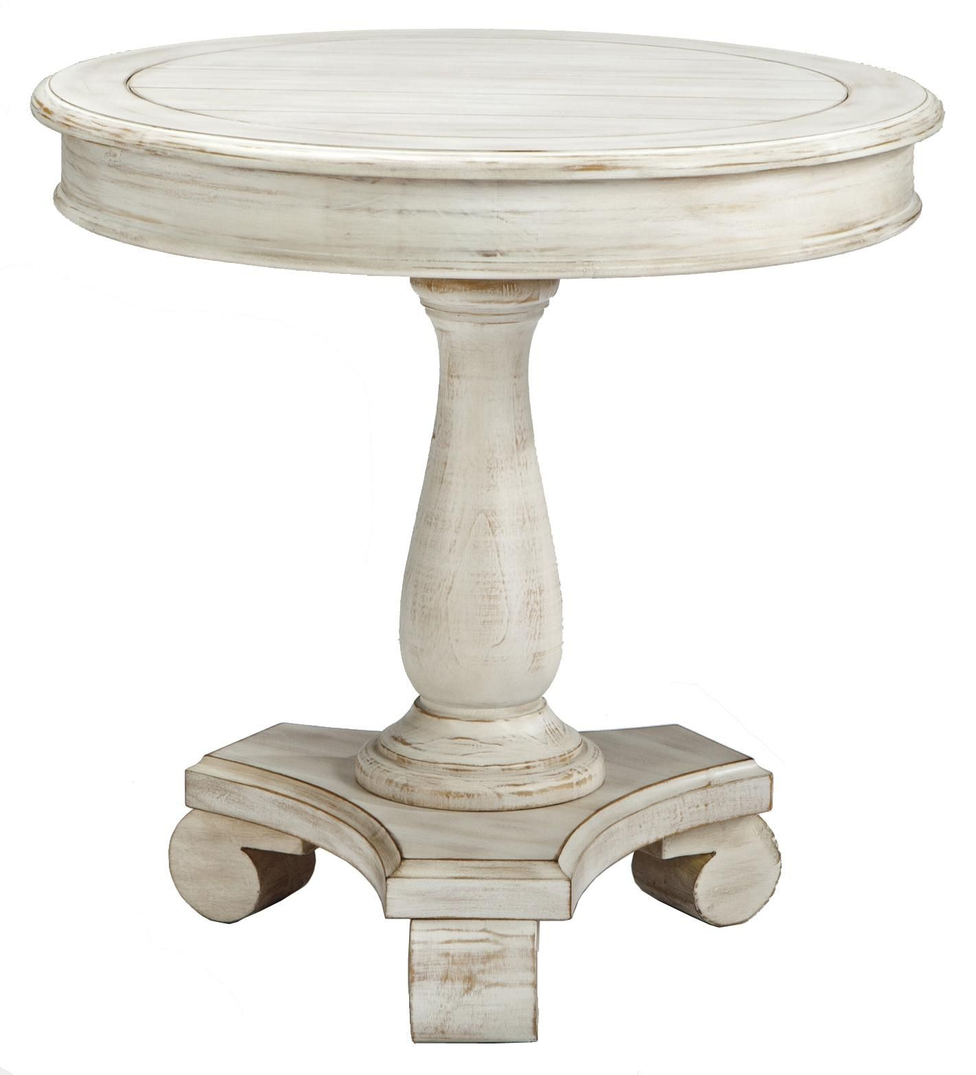 Mirimyn Round Accent Table With Turned Pedestal Base By Signature