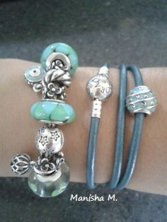Pandora Teal Bracelet Stack Featuring Triple Leather And Murano Love It