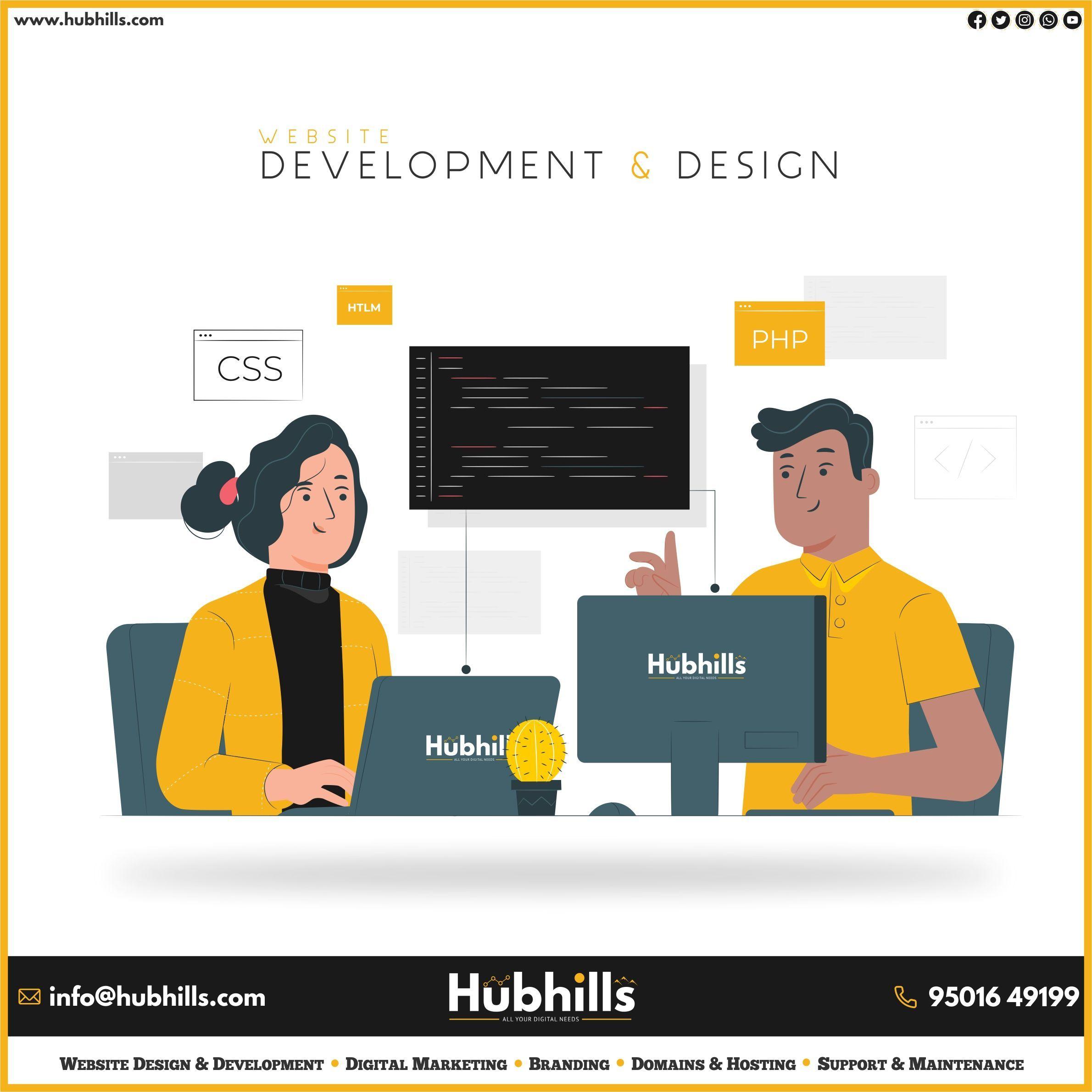 Website Design Development Domain Hosting Domainhosting Domain Hosting Hubhills All Your Di In 2020 Website Design Design Development Website Builder Free