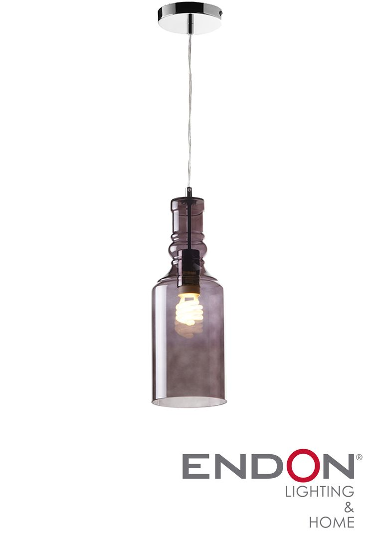 Endon Lancaster Pendant Ceiling Light Smoke Glass