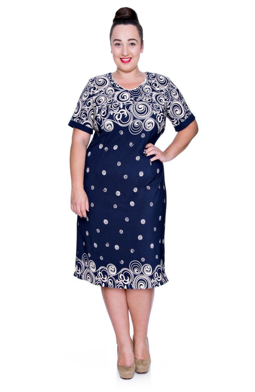 129a0965 Granatowa sukienka beżowe koła - Modne Duże Rozmiary | MDR Sukienki ...