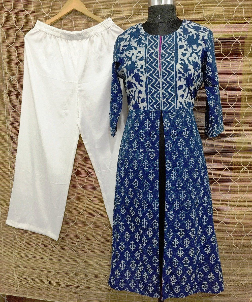 The indigo love front open long kurti with straight palazzo