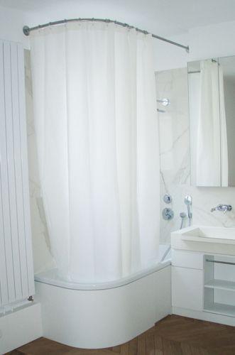 Barre de rideau de douche galbobain sur mesure pour baignoire asym trique centro duo de kadewei - Barre rideau de douche ventouse ...