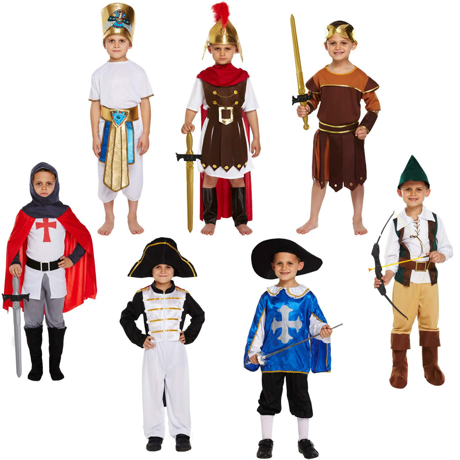 Boy fancy dress up costume child outfit knight roman musketeer