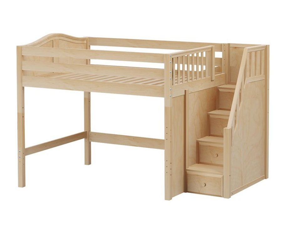 HIT Full Size Mid Loft Bed With Stairs Natural By Maxtrix Kids Furniture