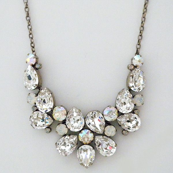 Sorrelli White Bridal Collection Crystal Opal Statement Necklace
