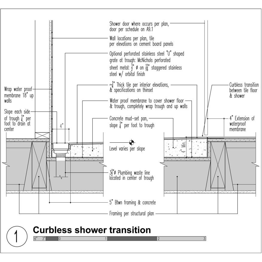 Mastering the Curbless Shower   Custom Home Magazine   Design, Bath, Installation, Shower, Fixtures, Natural Metals, Plumbing, Aging in Place, Surface Quality, Tubs