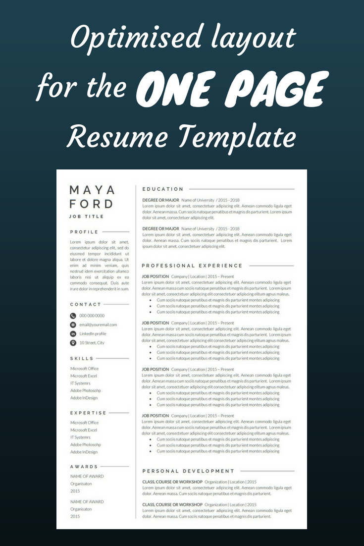 1 Page Resume New 1 Page Resume  Resume Template  One Page Resume  Professional .