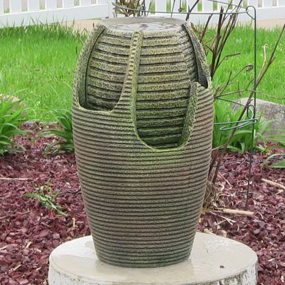 The Sunnydaze Bubbling Pot floor fountain features beautiful LED lights that add a dramatic look to this outdoor accent.