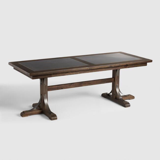 Distressed Wood Kenzie Fixed Dining Table Brushed Metal Inlay