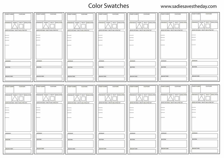Watercolor Swatch Template Watercolor Supplies