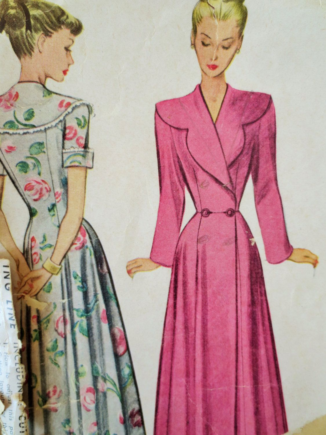 Vintage McCall 7459 Sewing Pattern, 1940s Robe Pattern, Housecoat ...