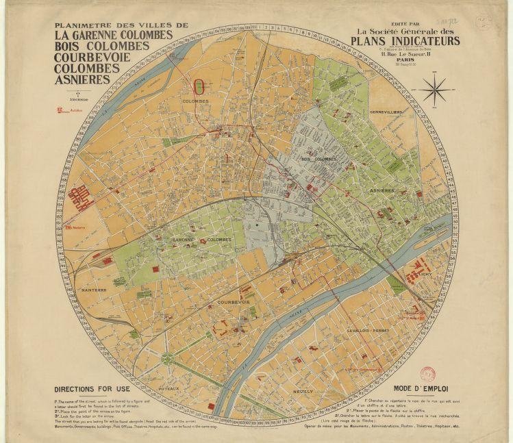 1930 Planimtre des villes de Colombes Courbevoie Asnires Bois