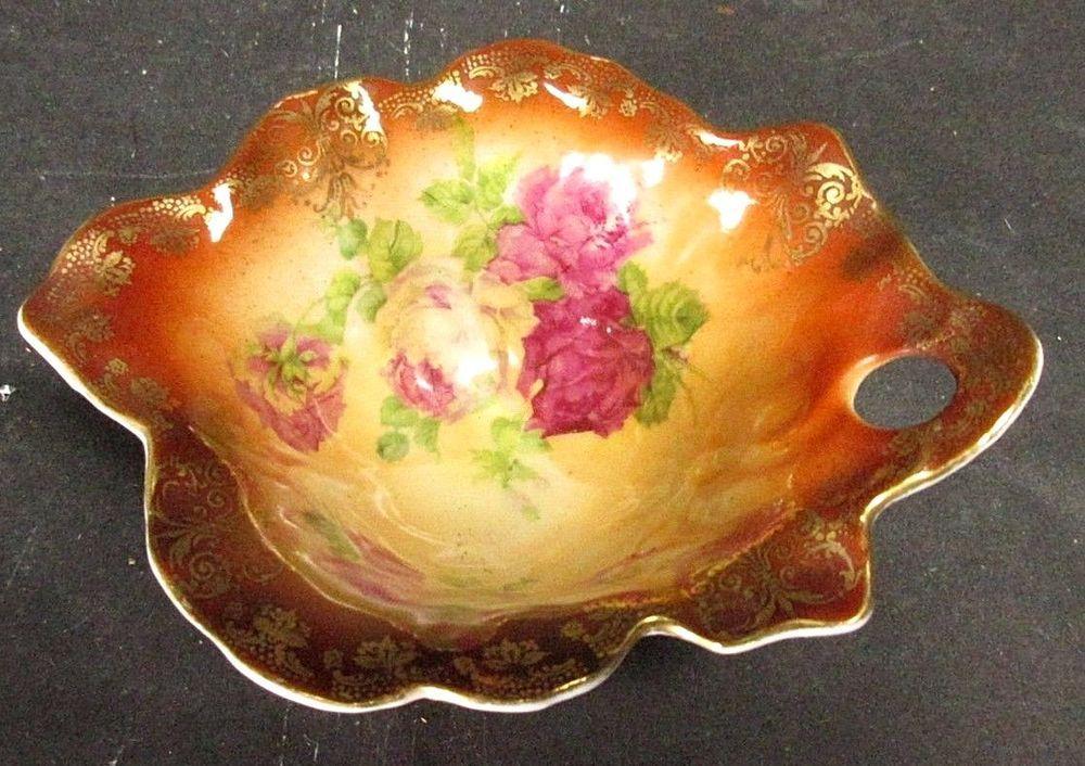 Vintage Hand Painted Elbogen Nut Dish Austria Bohemia