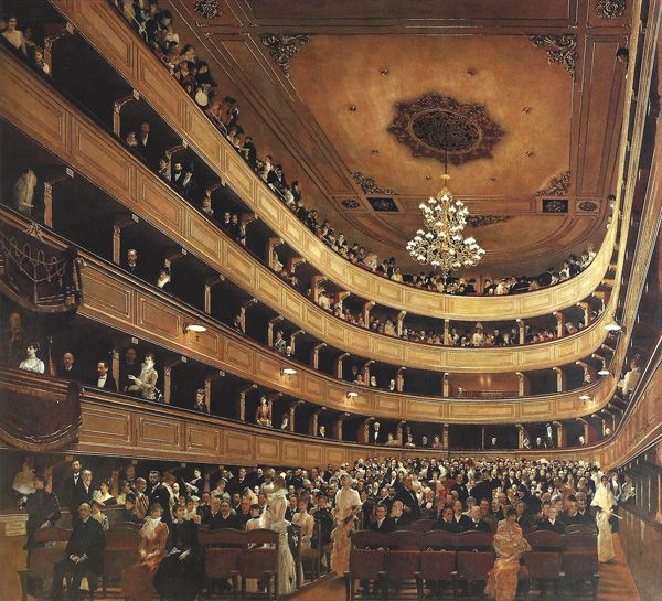 Auditorium in the Old Burgtheater in Vienna. Gustav Klimt undertook a number of commissions to paint wall and ceiling decorations in the 1880s