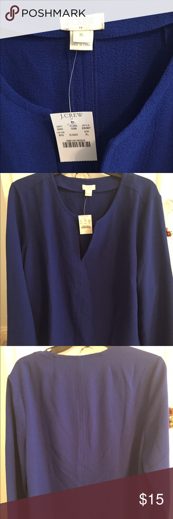 J .Crew top Beautiful, blue top from J.Crew! Never worn, tags still on! J. Crew Factory Tops