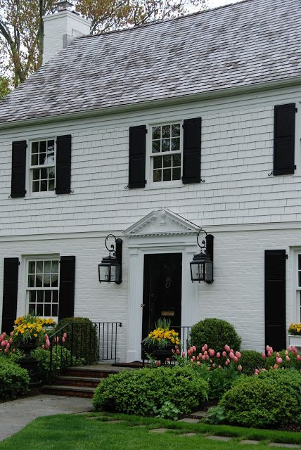 Pretty Pink Tulips Colonial House Exteriors Colonial Exterior House Exterior
