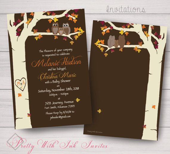 Baby Shower Birth Announcement, Invitations Owls, Carved Tree - baby shower samples