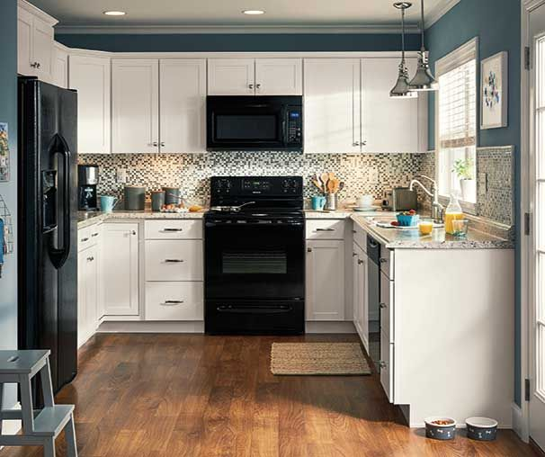 diamond now at loweu0027s arcadia collection streamlined styling and a durable white truecolor kitchen