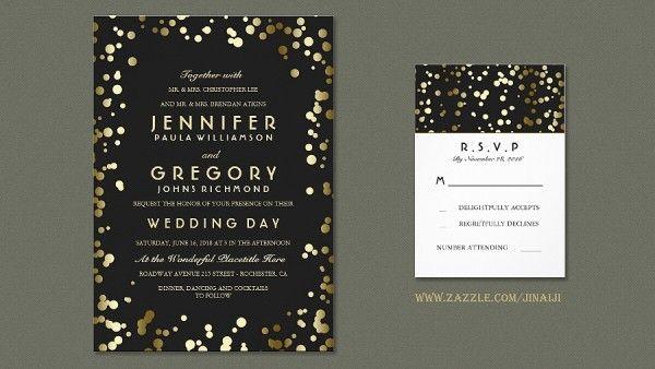 So many cute invite ideas gold foil confetti wedding invitations