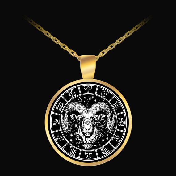 ARIES Zodiac Pendant GOLD by ProsperousJewels on Etsy