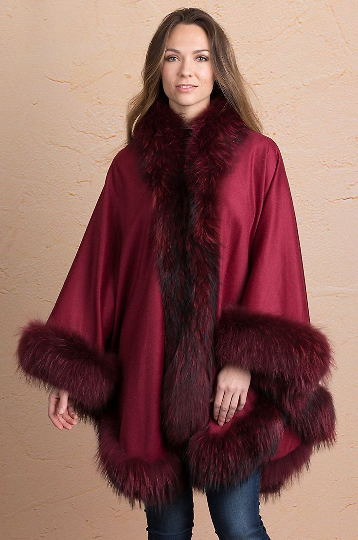 Keira cashmere cape with raccoon fur trim raccoons cashmere and fur