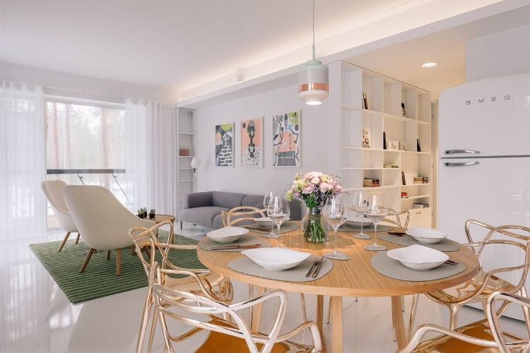 moderner wohnbereich wie grün kombinieren gold weiß grau
