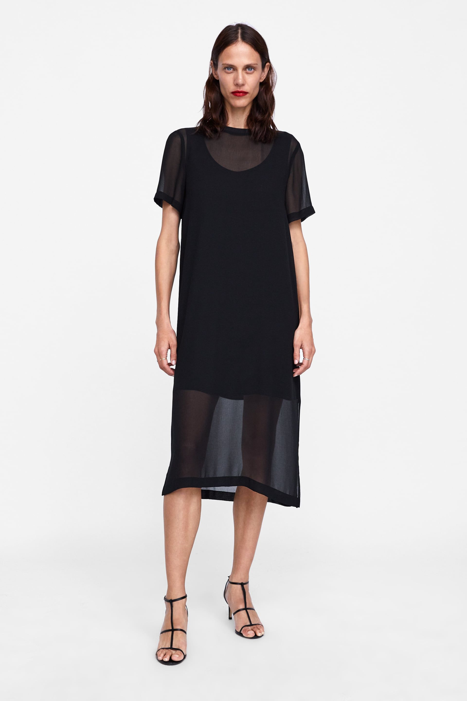 116f5b69 Dress with contrasting ribbed detail in 2019   Black   Zara dresses ...