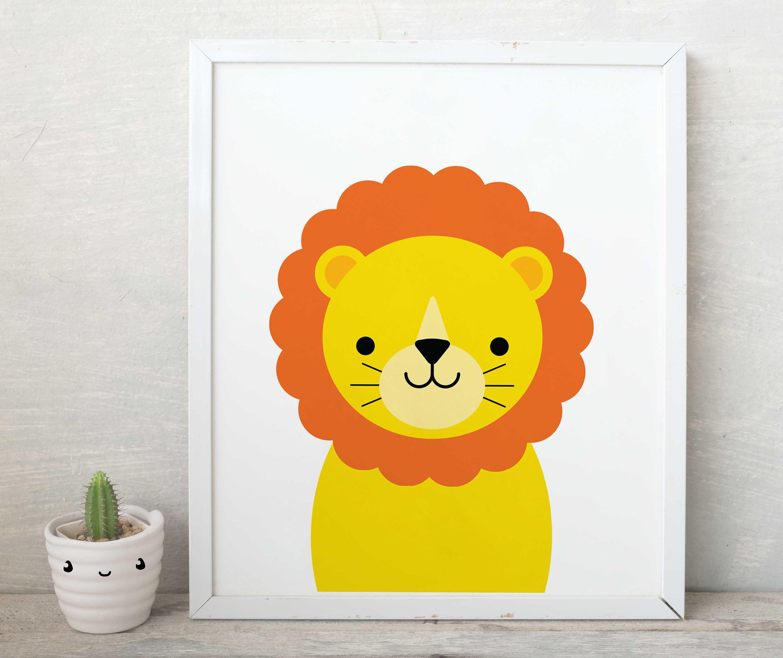 Lion print, smile lion wall art, lions poster, lion kids art, lion ...