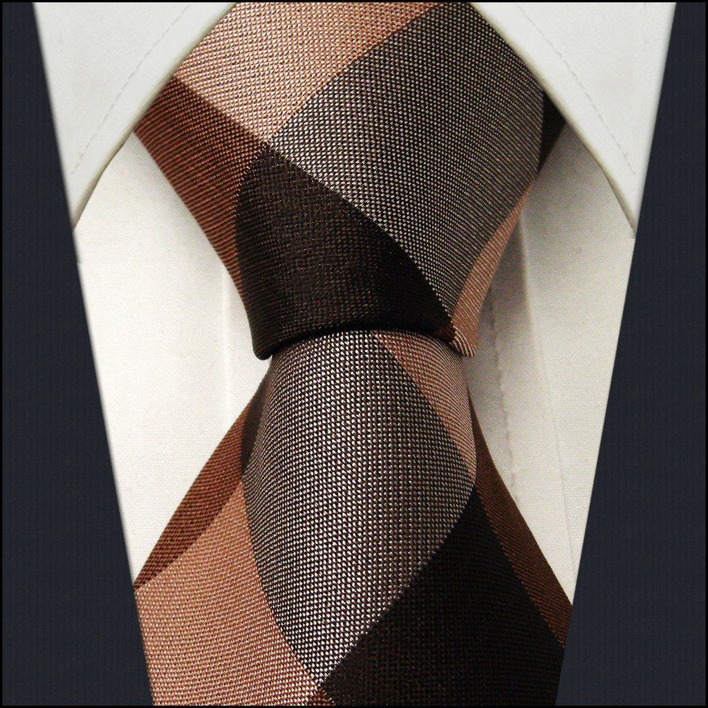 Checked Chocolate Caramel Camel Mens Neckties Ties 100% Silk Jacquard Woven Ties For Men Men Ties Designers Fashion Ties For Men: me like