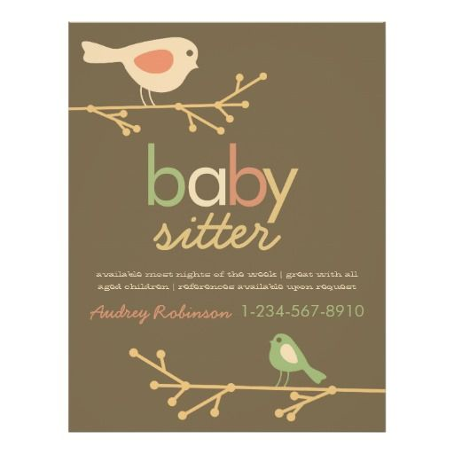 Mod Birds Babysitter Advertisement Flyer Flyers  Gfa