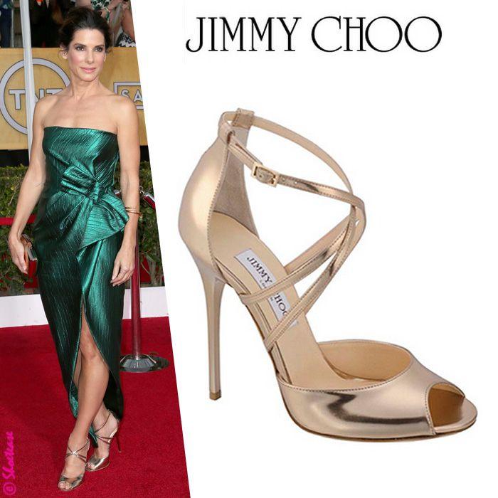 7bcd7b49b8eb Sandra Bullock-Jimmy Choo Valetta Metallic Sandal  Celebrity  Shoe  Style