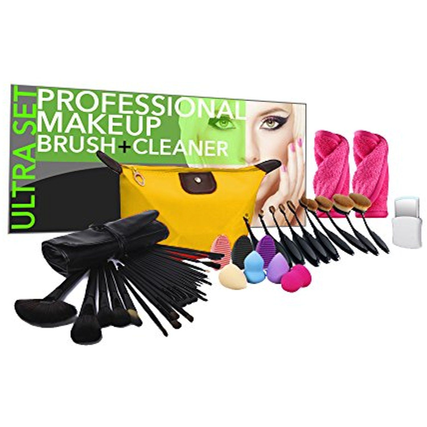 PU Beauty 45Piece Studio Makeup Brush and Cleaner Ultra