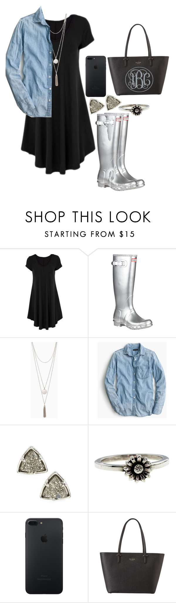 """""""be careful what you wish for"""" by legitimately-kierstin ❤ liked on Polyvore featuring Hunter, J.Crew, Kendra Scott, Metal Couture and Kate Spade"""