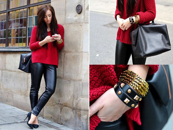Chunky sweater, leather pants