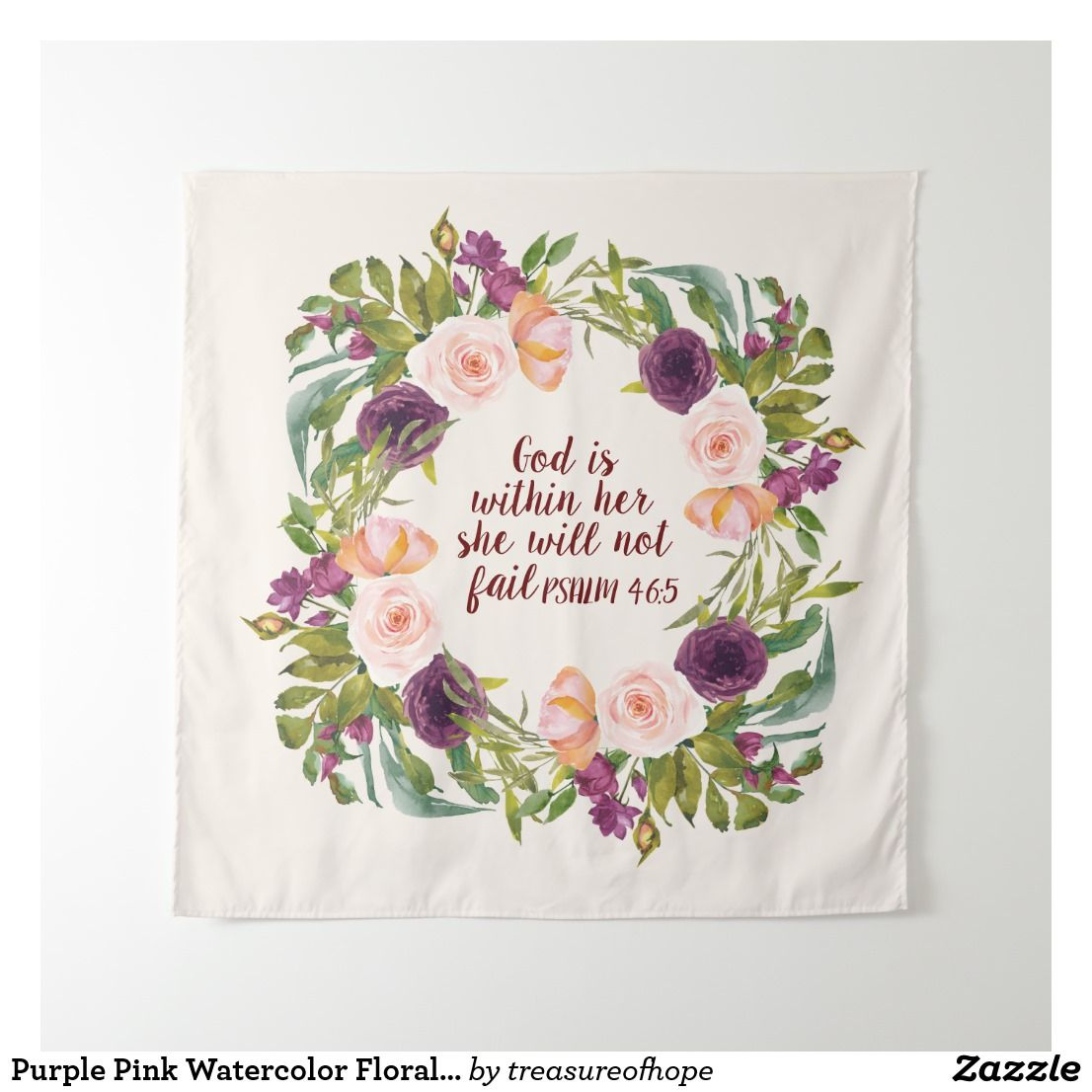 Purple Pink Watercolor Floral Christian Bible Tapestry