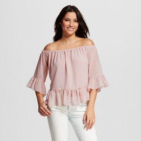 631429fcd2f Women's Chiffon Off the Shoulder Blouse Blush - Cliché : Target ...