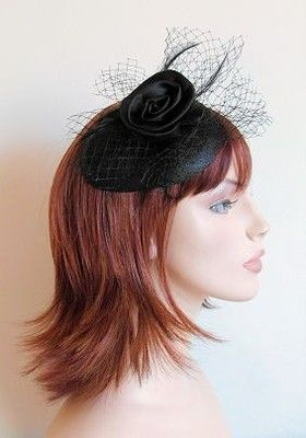 BLACK SATIN ROSE NET & FEATHER HAIR FASCINATOR ON SINAMAY BASE ON CLEAR COMB