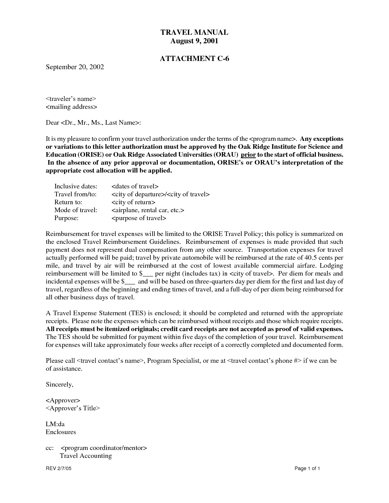 Travel Authorization Letter - Travel authorization letters are to be ...