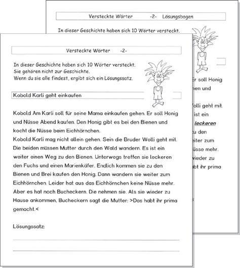 Verstecke Wörter: Kartei zum sinnerfassenden Lesen Geschichten rund ...