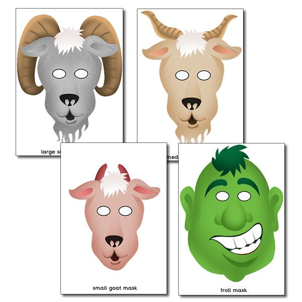 masketeers printable masks printable troll mask for 3 billy goats