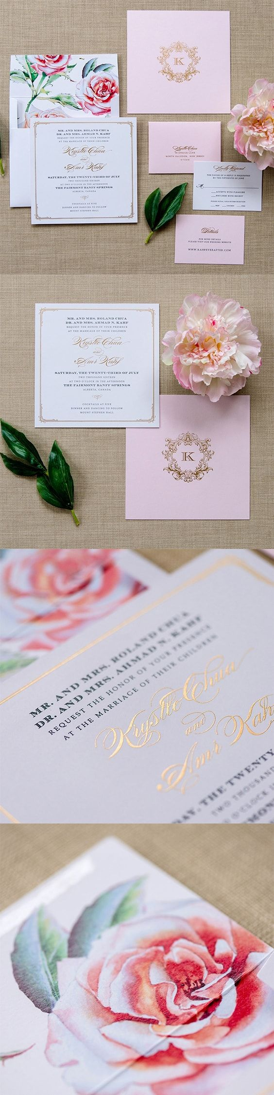 Floral Wedding Invitation - Krystle Wedding Invitation | Floral ...