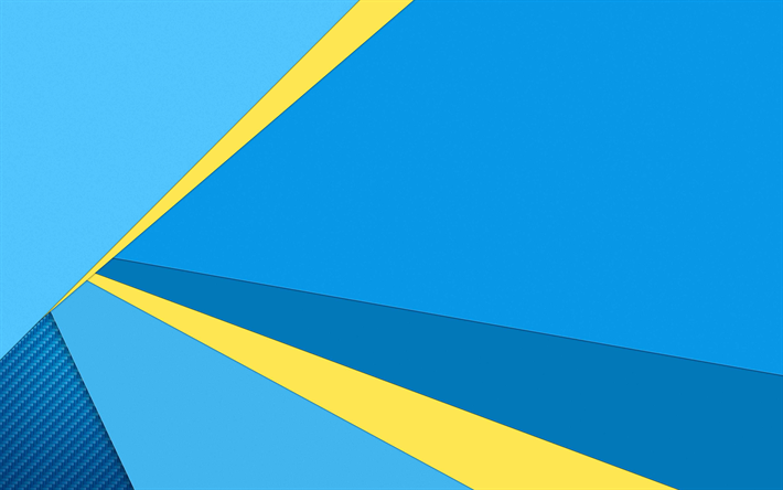 Download Wallpapers 4k Android Blue And Yellow Material Design Lollipop Geometric Shapes Creative Geometry Blue Background Besthqwallpapers Com Hd Cool Wallpapers Graphic Design Lessons Android Wallpaper