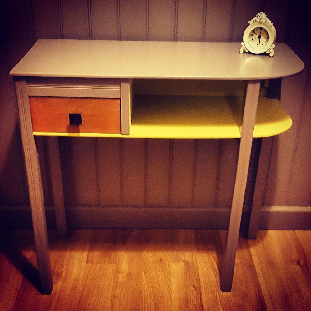 Hallway storage trunk  vintage retro hall table desk side end table  home design ideas