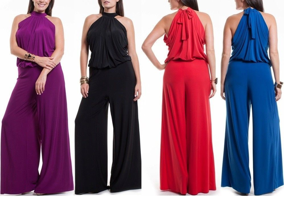 4afdd14f1ba0 SEXY PLUS SIZE TURTLENECK FULL LENGTH WIDE LEG PALAZZO PANTS SUIT DRESS  JUMPSUIT  LAFASHION  Jumpsuit